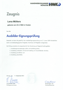 Ausbilder-Eignungsprüfung | Lena Möllers | Gebäudereingung Jansen GmbH | Stadtlohn