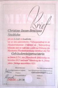 Meisterbrief | Anne Jansen | Gebäudereingung Jansen GmbH | Stadtlohn