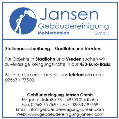 Gebäudereinigung Jansen | Stellenausschreibung | Stadtlohn und Vreden