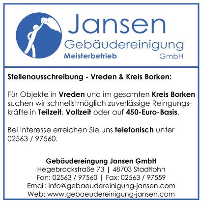 Gebäudereinigung Jansen | Stellenausschreibung | Vreden | Kreis Borken