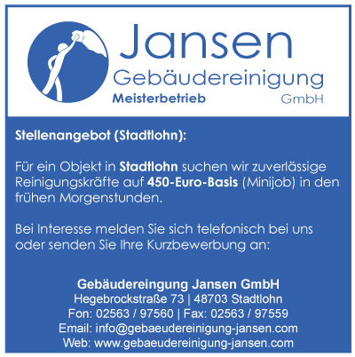 stellenangebot minijob stadtlohn geb udereinigung jansen gmbh. Black Bedroom Furniture Sets. Home Design Ideas