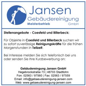 Stellenanzeige_Gebaeudereiniger_Coesfeld_Billerbeck_Gebäudereinigung Jansen